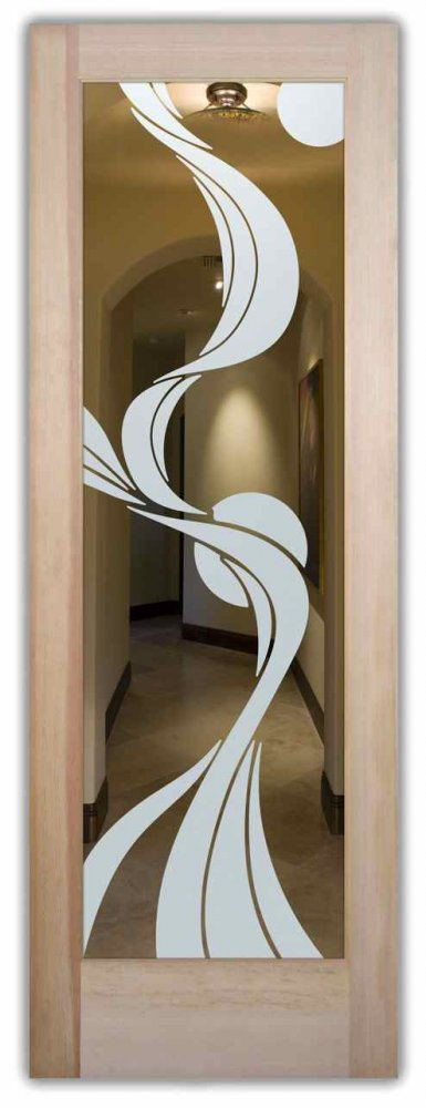 Ribbon Reflection Moons Interior Doors With Glass Etching