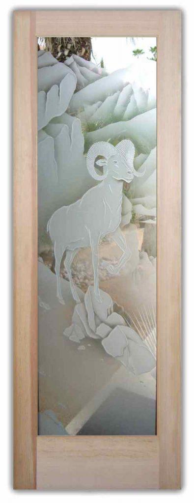 interior glass doors etched glass desert decor bighorn sheep