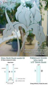 Sans Soucie Sandblast Etched Glass 3D Carved Semi-Private
