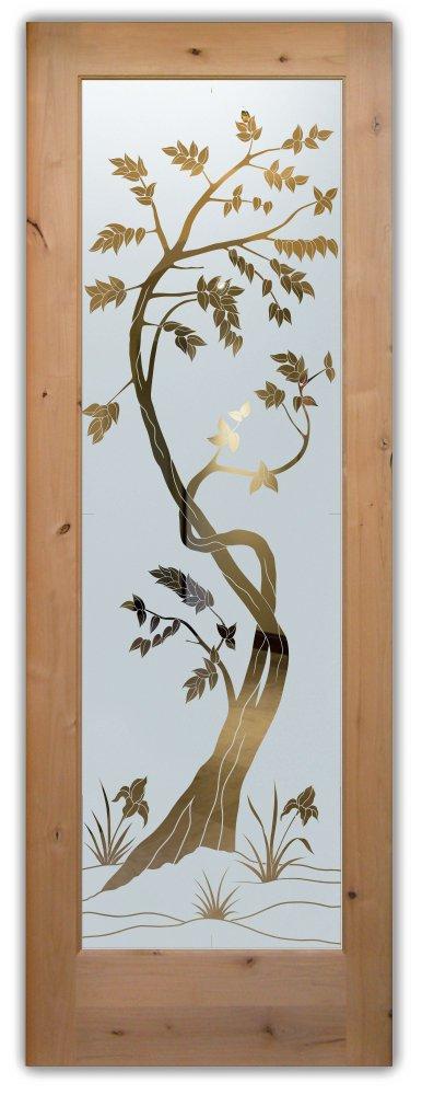 glass front doors custom glass asian style vines trees leafy sapling sans soucie