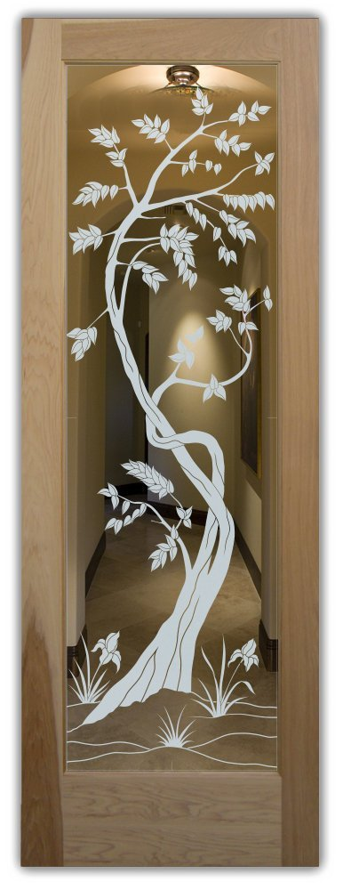 interior doors with glass etching frosted glass Asian decor trees leaves sapling sans soucie