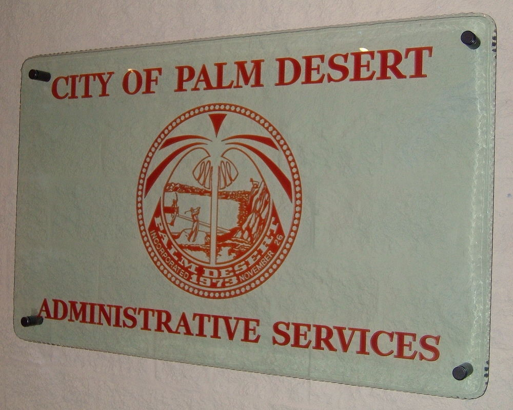 Signs with Carved and Painted Glass palm desert by Sans Soucie