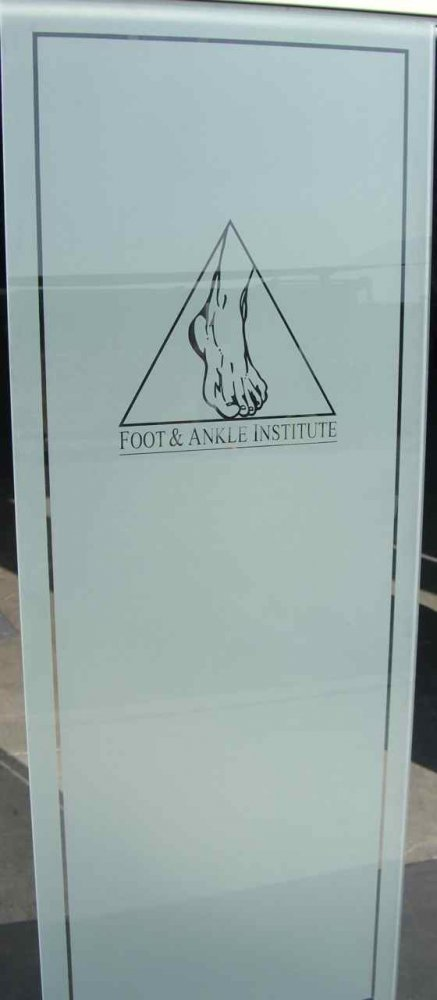 Door Inserts with Glass Etching Logos Foot and Ankle Institute by Sans Soucie