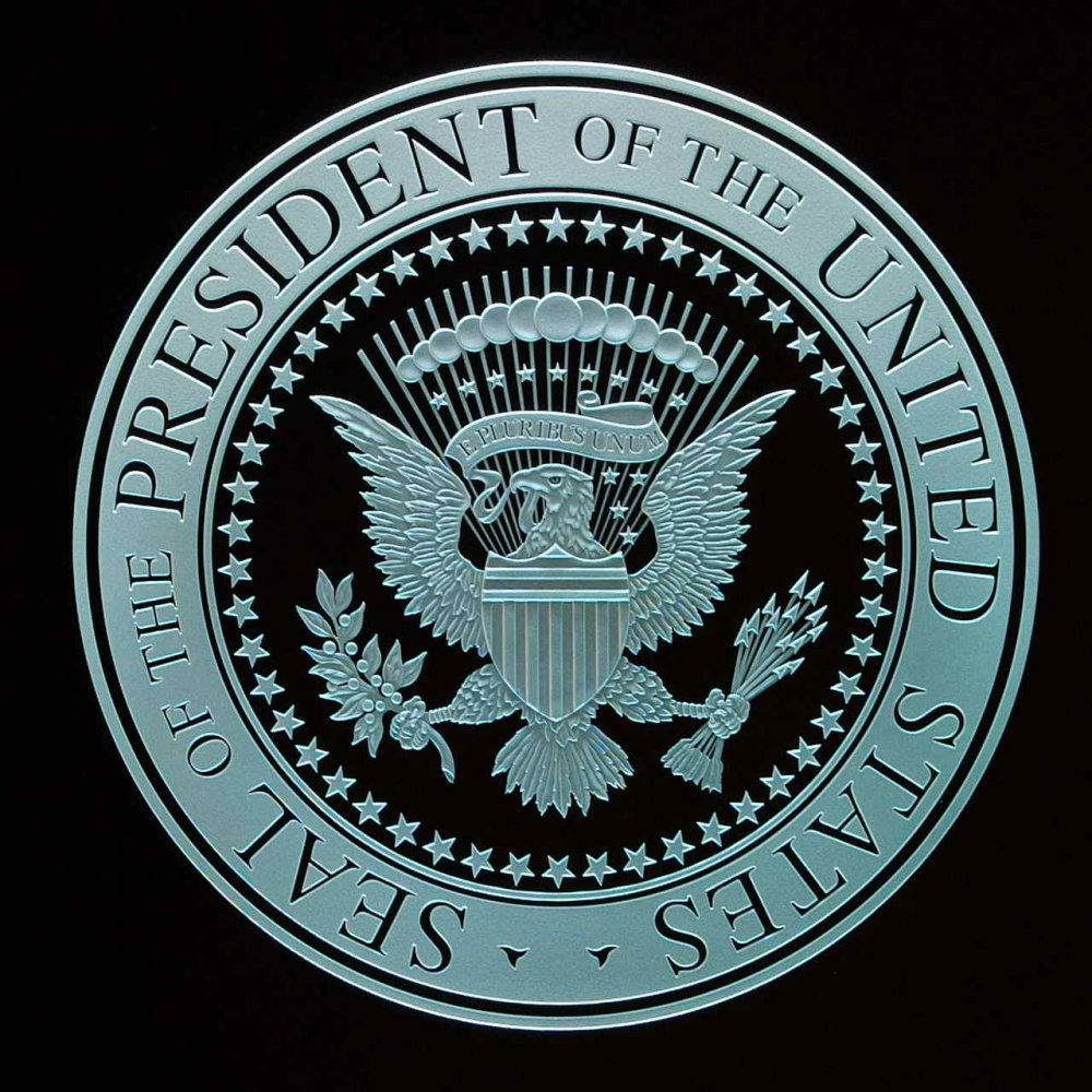 Etched Glass Signs U.S. Presidential Seal Sans Soucie