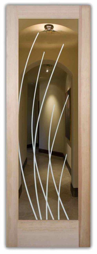 interior doors with glass etching custom glass modern design linear patterns sleek arcs sans soucie
