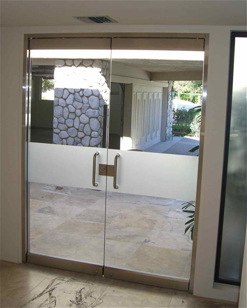 Solid frost band frameless glass doors sans soucie for Frameless glass doors