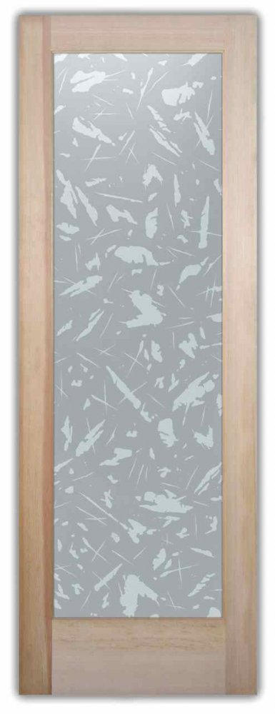 Interior Glass Doors custom glass rustic design geometric shapes paint splatter spatter sans soucie