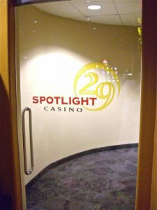 Sans Soucie Frameless Glass Doors Painted and Carved Glass Casino