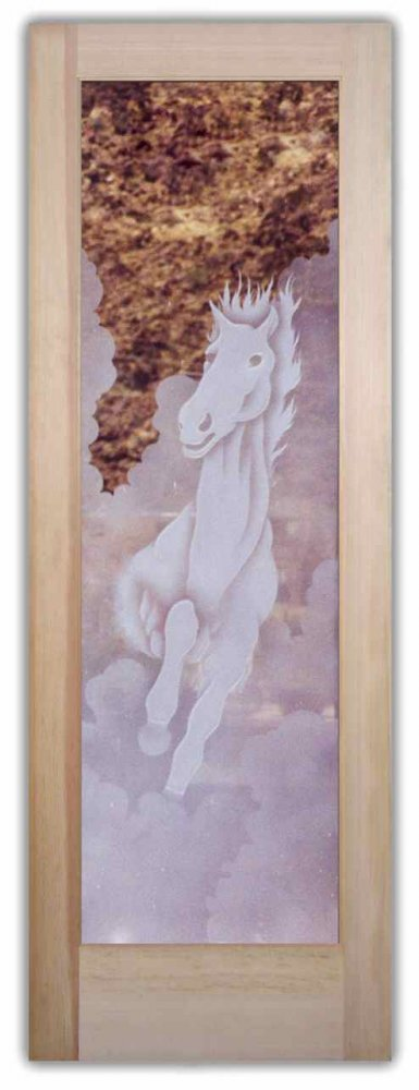 & Stallion II 2D Etched Glass Doors Western Decor