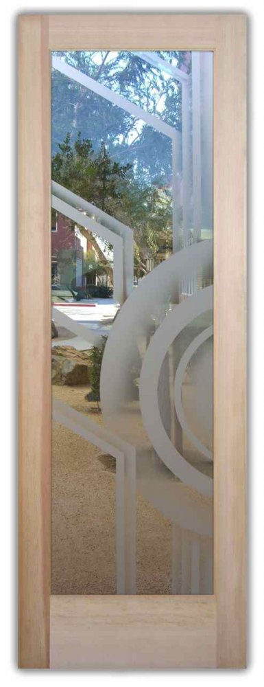 Glass Front Doors Etched Glass Modern Design Art Deco Style Geometric
