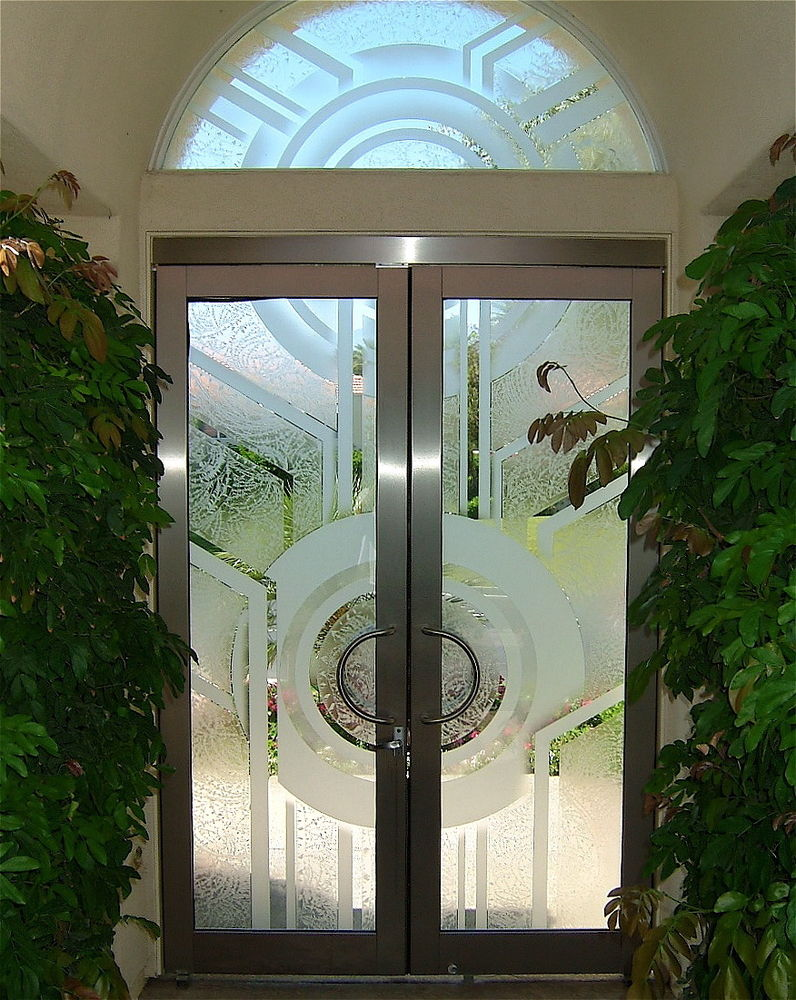 Entry Door and Window Etched Glass Contemporary Sans Soucie