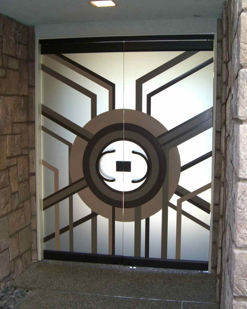 Entry Doors Frameless Etched Carved and Painted Glass Modern by Sans Soucie