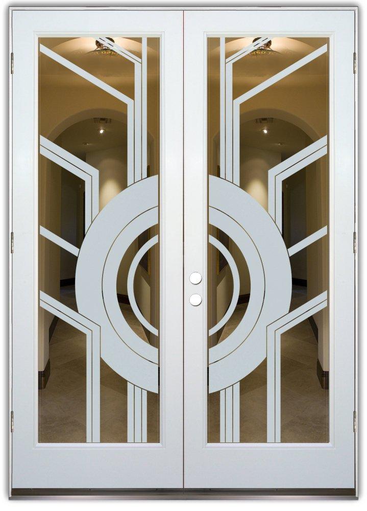 Double Interior Door Glass Etched Modern Sans Soucie