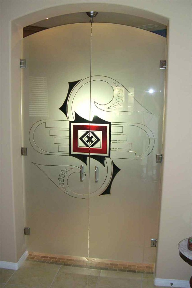Frameless Glass Doors with Carved and Painted Glass by Sans Soucie