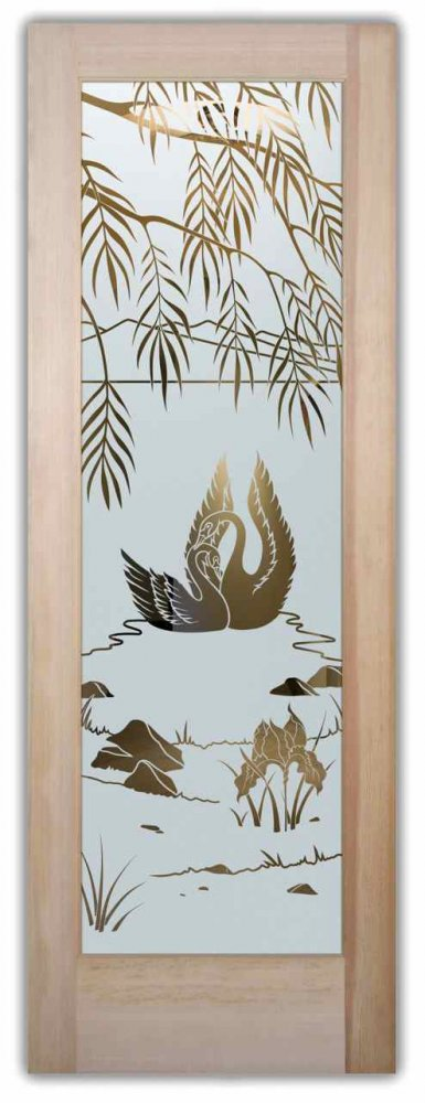 glass front doors etched glass designs english country decor birds foliage nature swan song sans soucie