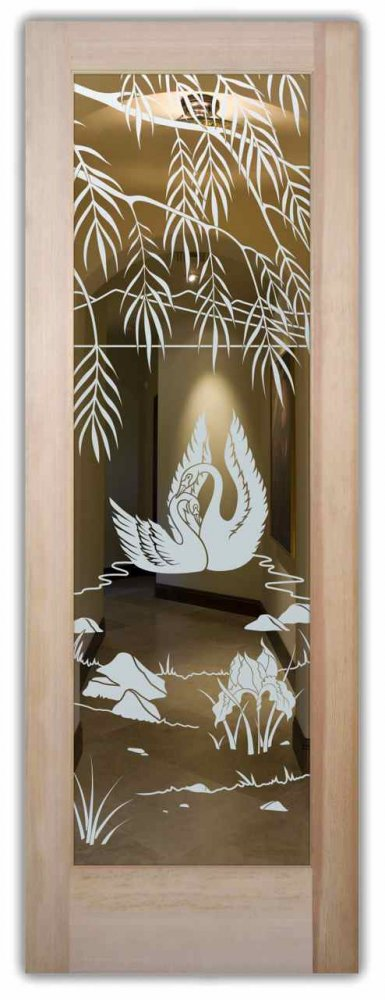 interior doors with glass etching sandblasted glass English country style foliage lake outdoors swan song sans & Swn Sng Int Doors w/ Glass Etching English Country Style pezcame.com