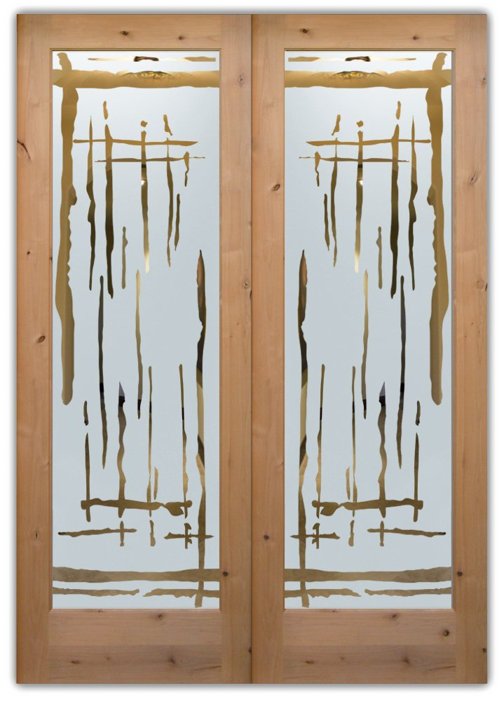 Swing etched glass front doors rustic design sans soucie for Front door glass design
