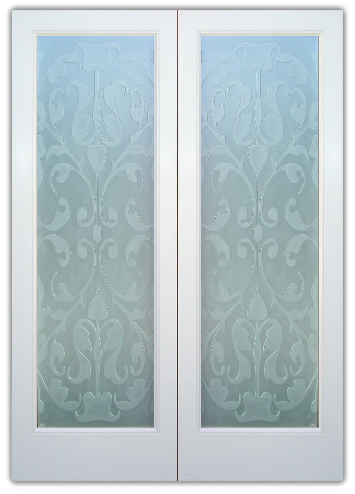 Double Entry Doors with Etched Glass French Victorian Decor by Sans Soucie