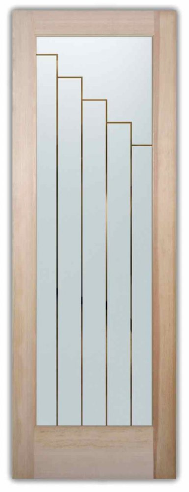 Towers Front Doors with Glass Etching Contemporary Style
