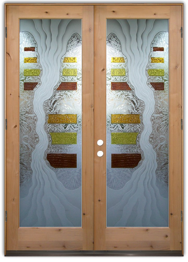 Triptic I 3d Etched Glass Doors Eclectic Style