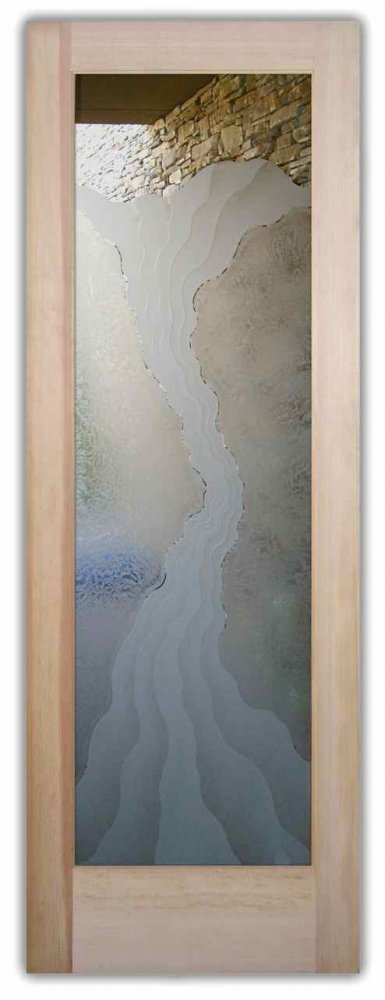 Glass Front Doors Etched Glass Eclectic Style Rustic Decor Waves