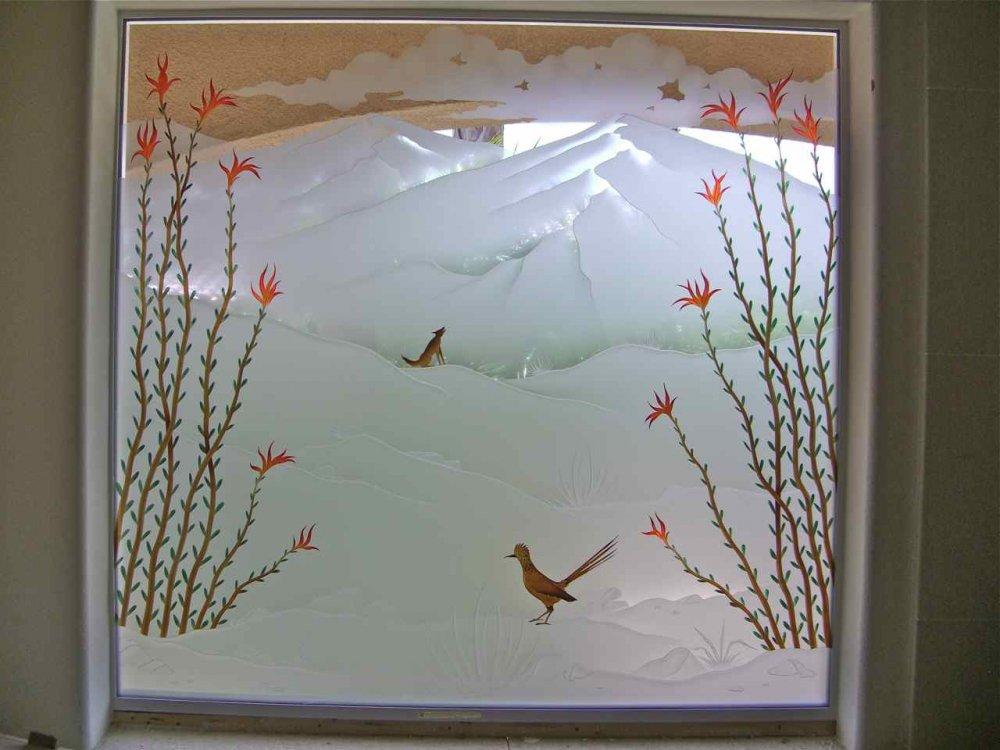 Ocotlo Dsrt Cyte Glass Window Etched Glass Western Style