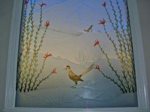 glass window glass etching western style foliage birds ocotillo roadrunner sans soucie