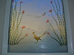 glass window etched glass western style foliage mountains ocotillo roadrunner sans soucie