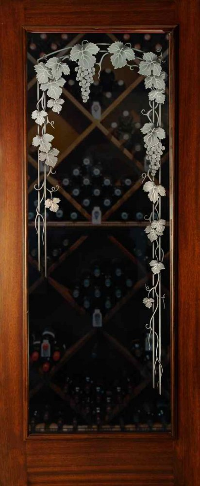Vineyard Grapes 3d Trellis Glass Doors By Sans Soucie