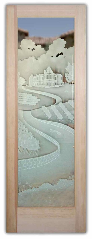 Glass Front Doors Etched Glass Tuscan Decor Winery Landscape