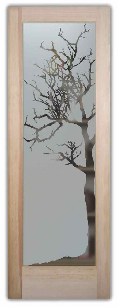 Pantry Door with Frosted Glass Rustic Trees by Sans Soucie