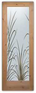 Glass Front Doors Etched Glass Tropical Decor Wispy Reeds Foliage
