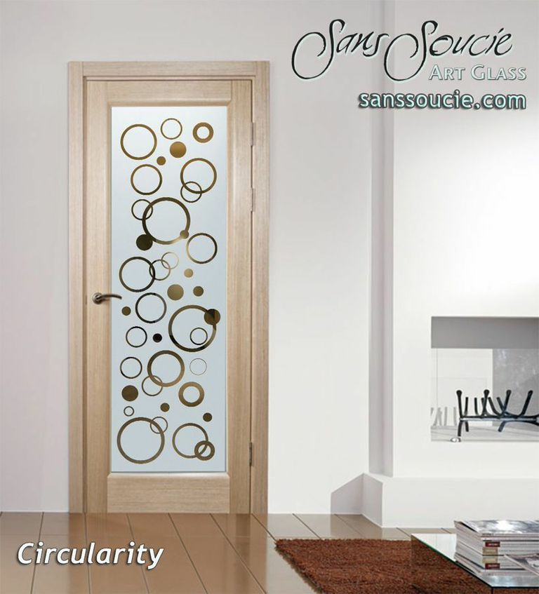 Interior glass doors glass etching circles bubbly floaty art deco design sans soucie circularity