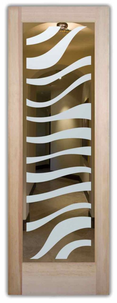 Zebra Interior Doors With Glass Etching African Decor