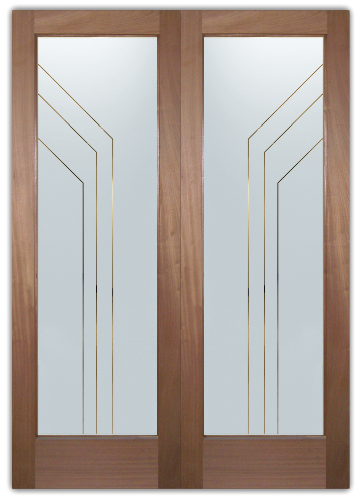 etched glass doors angled pinstripes