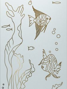 Glass Etching beach coastal decor aquarium fish