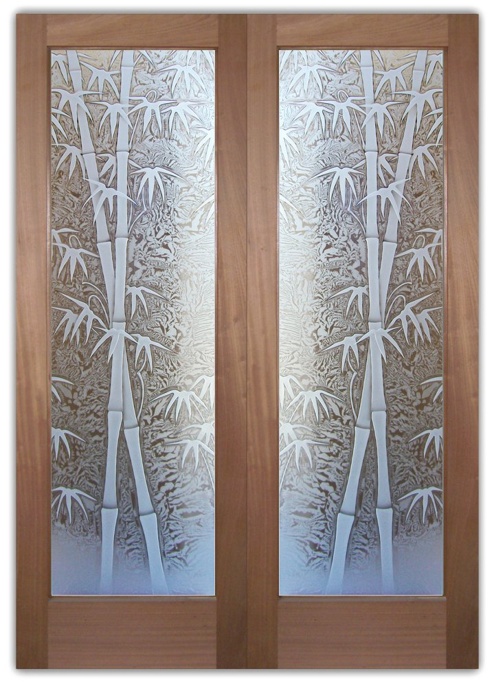 bambo shoots etched glass door