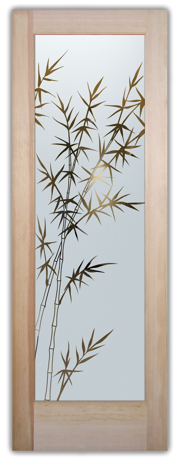 Bamboo Glass Panels : Bamboo forest etched glass front doors asian decor