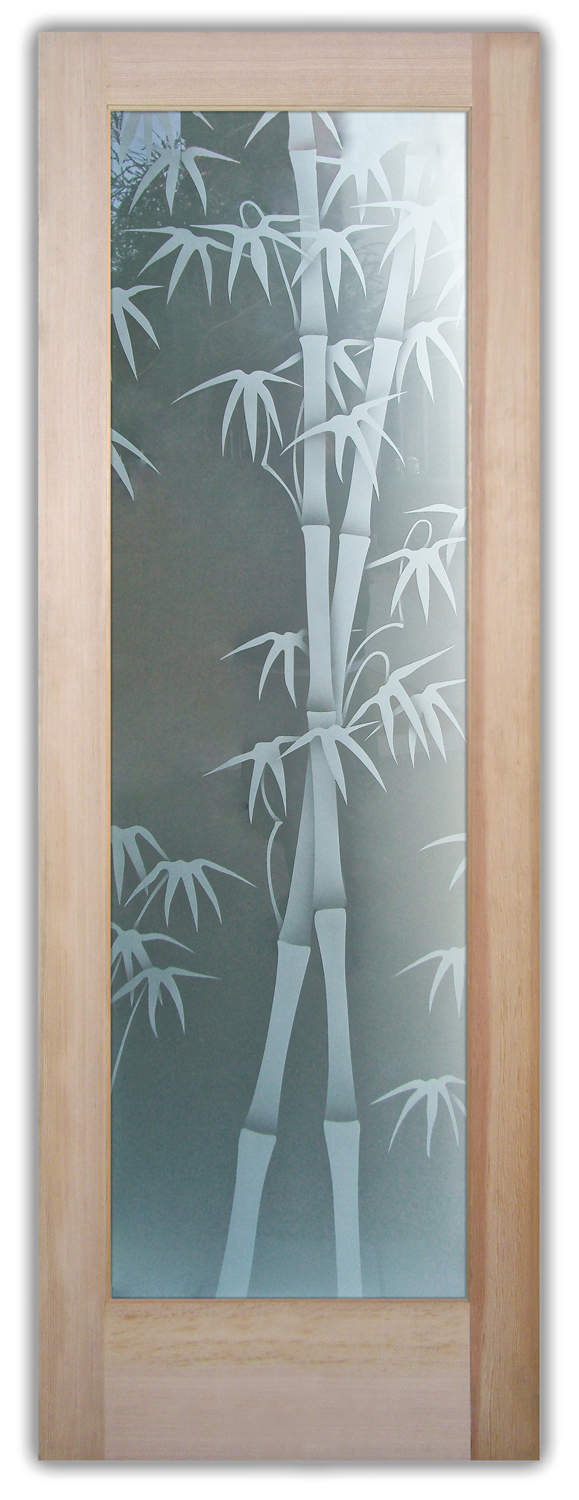 Bamboo Shoots 2d Private Etched Glass Doors Asian Decor