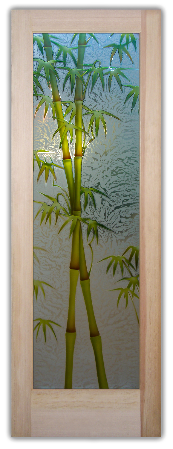 Bamboo Glass Panels : Bamboo shoots d painted etched glass doors asian decor