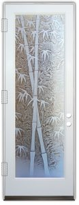 glass entry door etched glass asian decor bamboo shoots gluechip