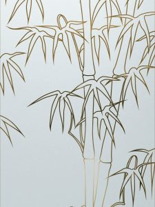 Glass Etching Asian Decor Bamboo Shoots stalks