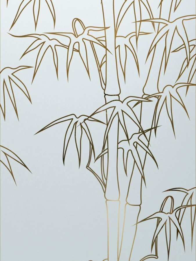 Bamboo Shoots Front Doors With Glass Etching Asian Decor