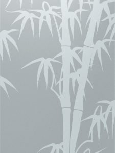 etched glass asian style leaves foliage bamboo shoots sans soucie