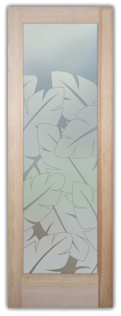 Banana Leaves 1D Private Etched Glass Door