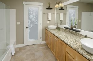 bathroom glass doors frosted glass rustic design nature foliage branches winter tree sans soucie