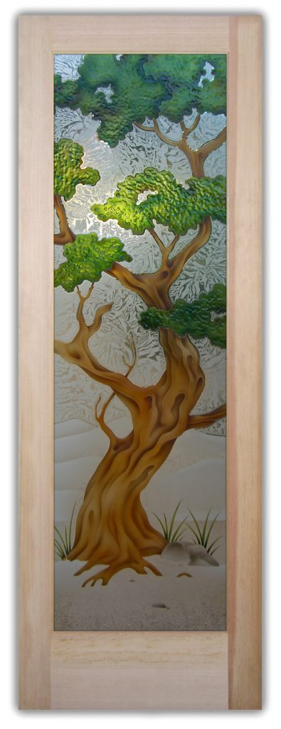 bonsai 3D painted interior glass doors