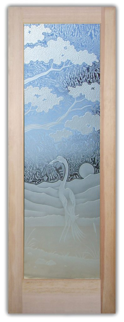 bonsai egret 3D interior glass doors