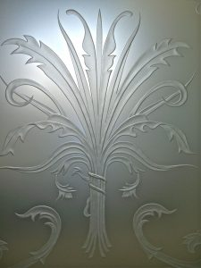 sandblasted glass French decor flowery flourishes picturesque cala lillies ll sans soucie