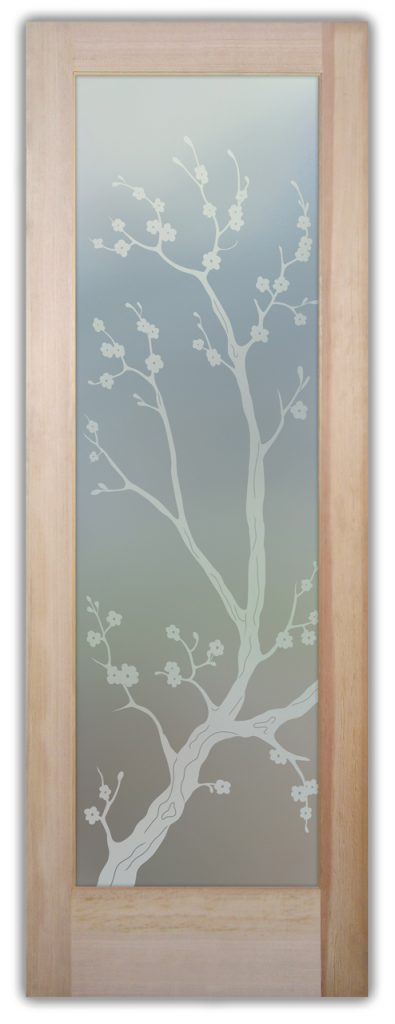 Cherry Blossom 1D Private Etched Glass Door